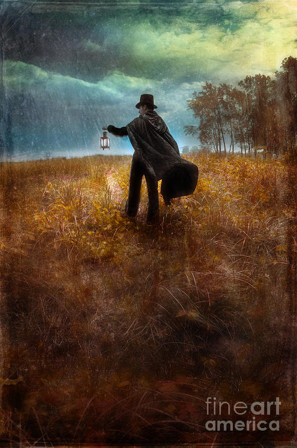 Man In Top Hat And Cape Walking In Rain Photograph  - Man In Top Hat And Cape Walking In Rain Fine Art Print