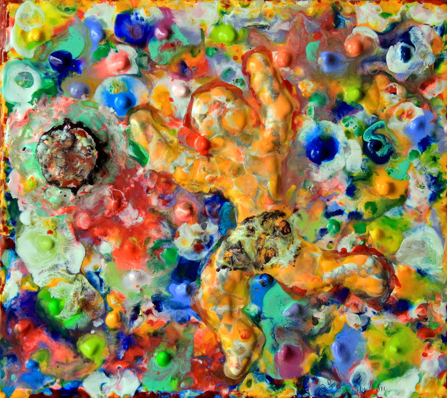 Man  Kicking  An  Encaustic  Ball Painting