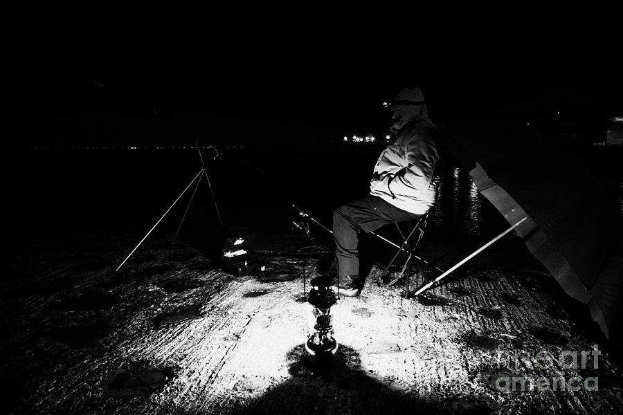Man Nighttime Fishing Photograph  - Man Nighttime Fishing Fine Art Print