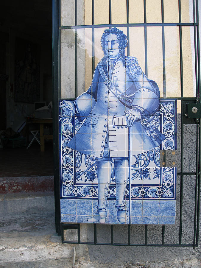 Man Of Blue Tiles Glass Art  - Man Of Blue Tiles Fine Art Print
