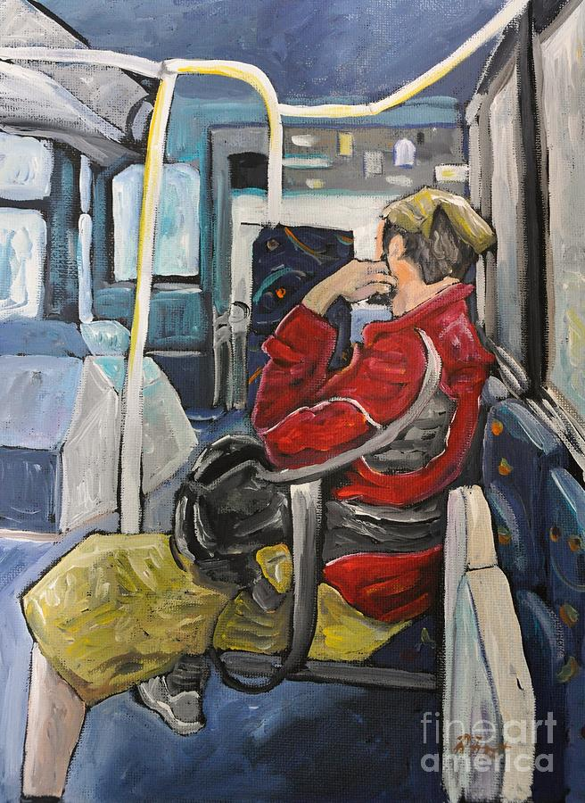 Man On 107 Bus Verdun Painting