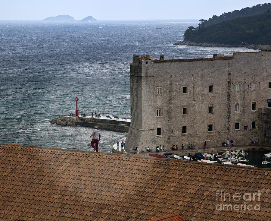 Man On The Roof In Dubrovnik Photograph  - Man On The Roof In Dubrovnik Fine Art Print