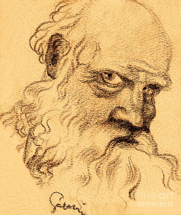 Man Portrait Drawing  - Man Portrait Fine Art Print