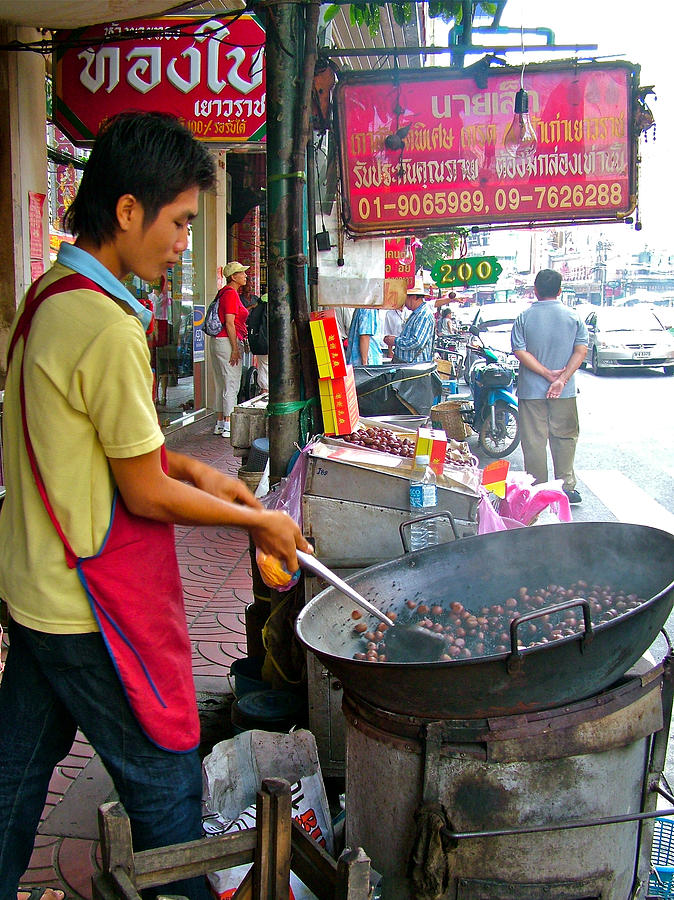 Man Roasting Chestnuts In China Town Of Bangkok Photograph  - Man Roasting Chestnuts In China Town Of Bangkok Fine Art Print