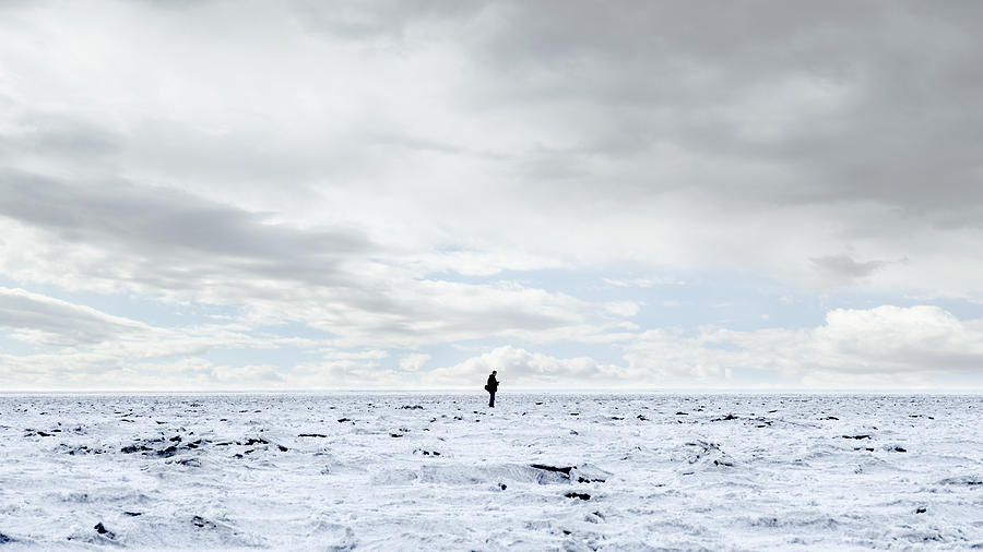 Man Standing In Middle Of Salt Flats Photograph  - Man Standing In Middle Of Salt Flats Fine Art Print