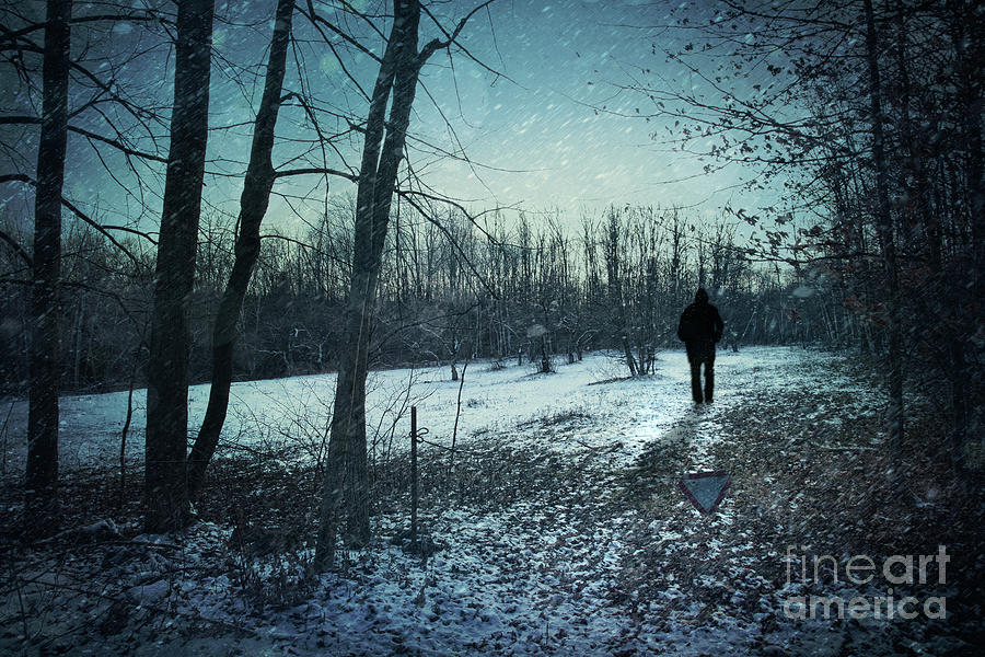 Man Walking In Snow At Winter Twilight Photograph  - Man Walking In Snow At Winter Twilight Fine Art Print