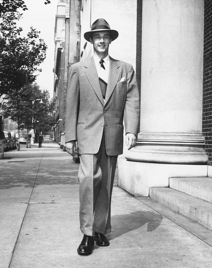 35-39 Years Photograph - Man Walking On Sidewalk, (b&w) by George Marks