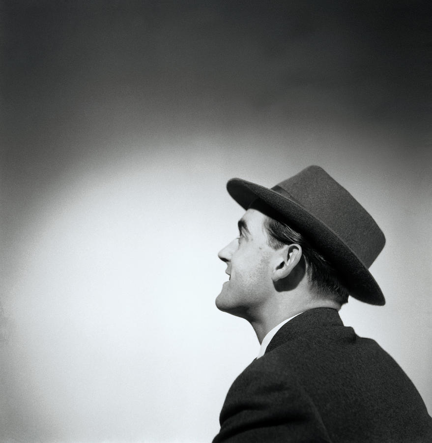 Man Wearing Hat Looking In Distance (b&w) Photograph