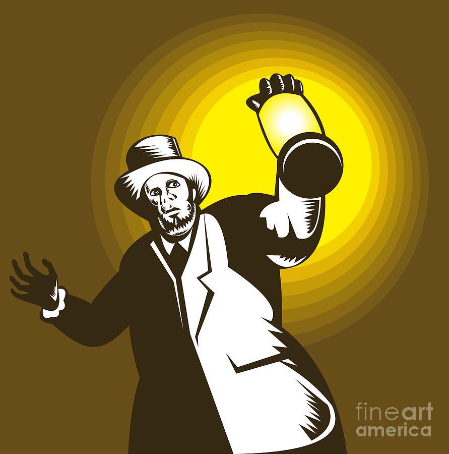 Man Wearing Top Hat And Holding Lantern Digital Art