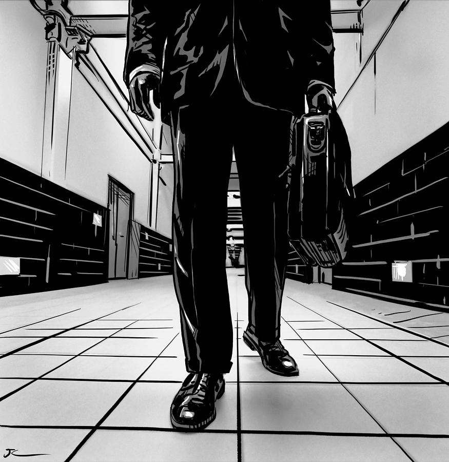 Man With Briefcase Drawing  - Man With Briefcase Fine Art Print