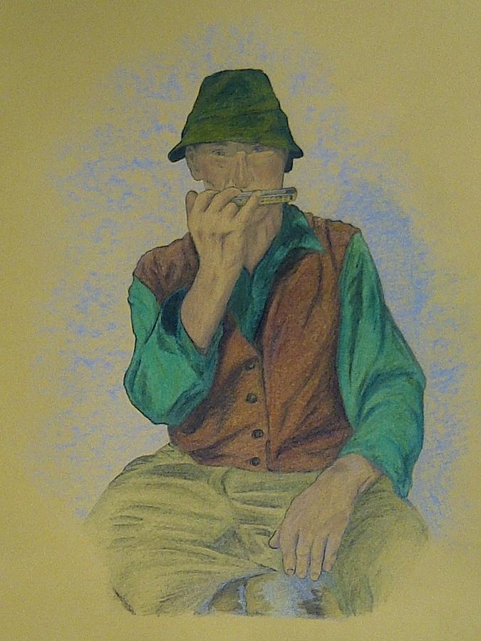 Man With Harmonica Pastel