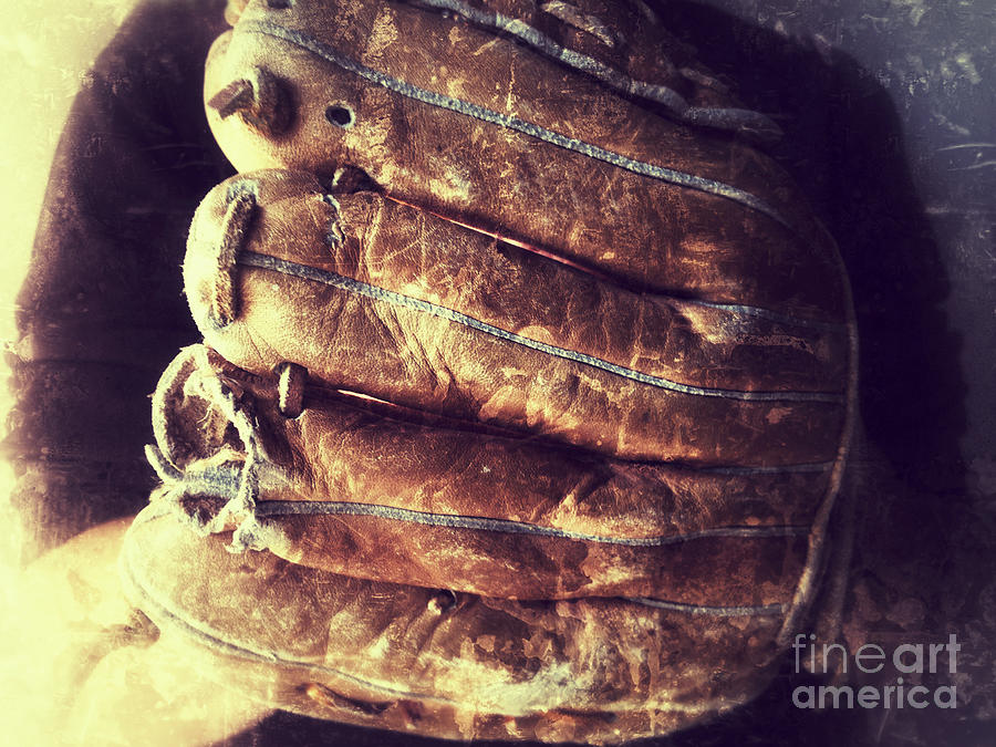 Man With Old Baseball Glove Photograph  - Man With Old Baseball Glove Fine Art Print
