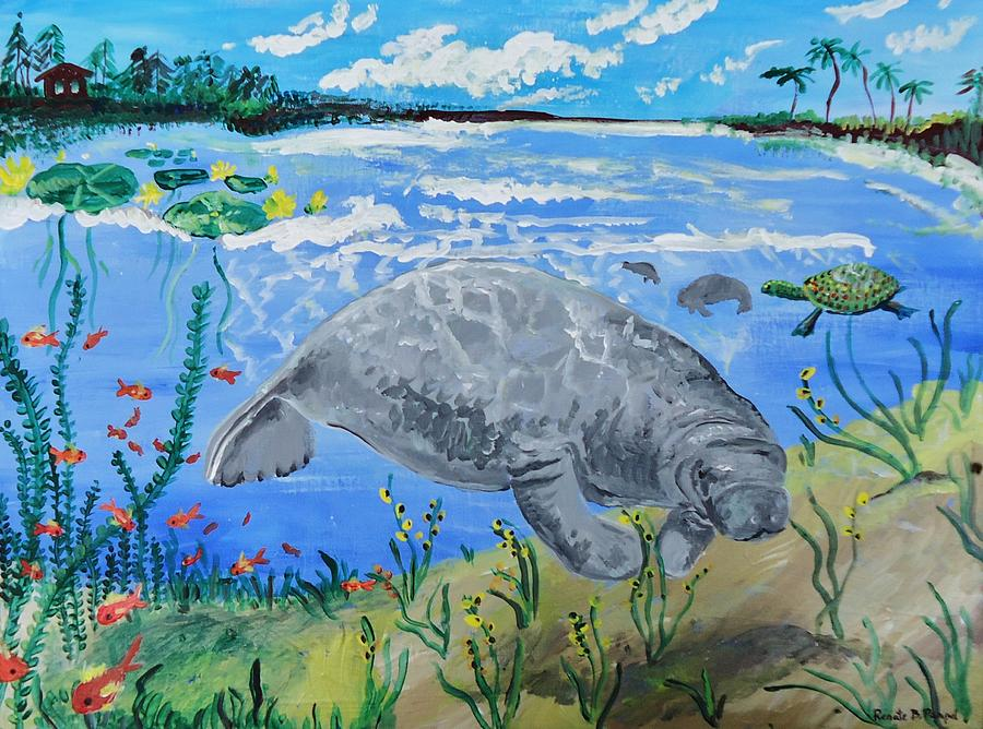 manatee in the Lagoon Painting  - manatee in the Lagoon Fine Art Print
