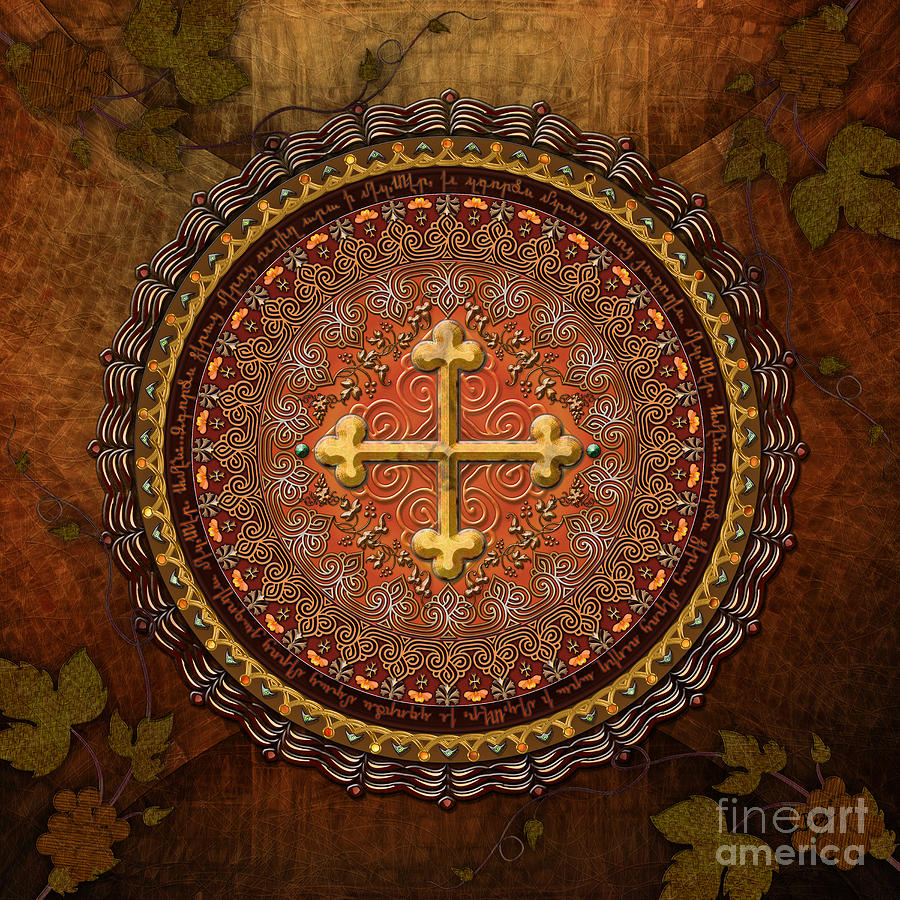 Mandala Armenian Cross Digital Art  - Mandala Armenian Cross Fine Art Print