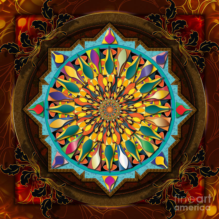 Mandala Droplets Digital Art  - Mandala Droplets Fine Art Print