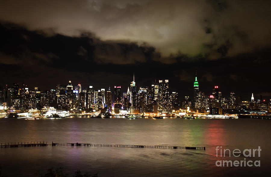 Manhattan On A Cloudy Night Photograph  - Manhattan On A Cloudy Night Fine Art Print