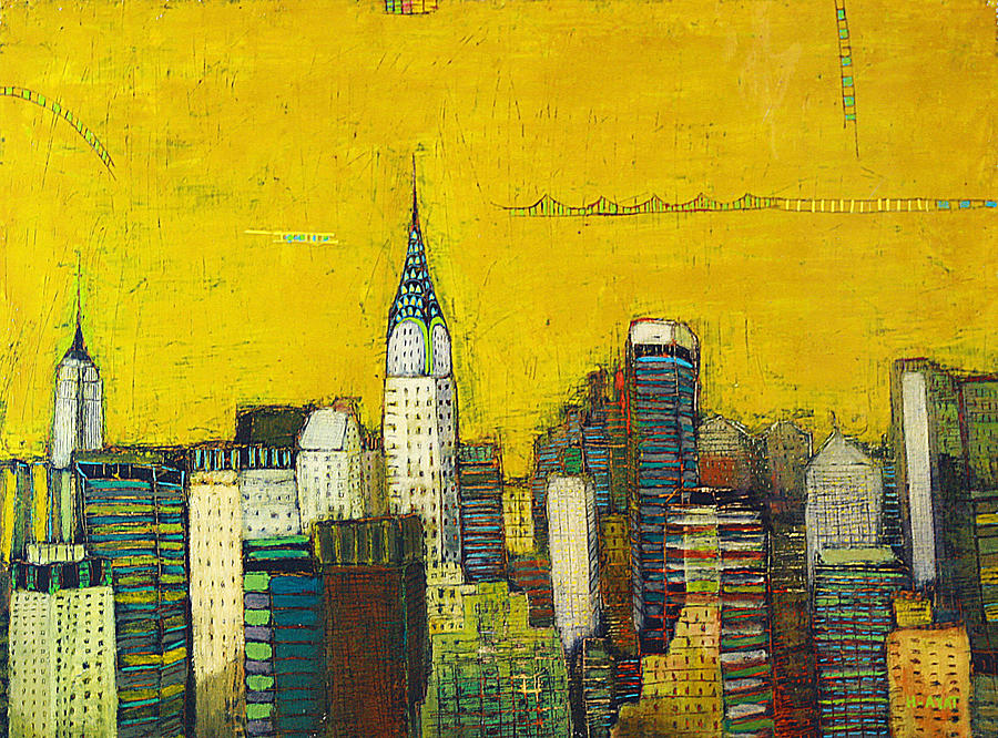 Manhattan With Chrysler And Empie Painting  - Manhattan With Chrysler And Empie Fine Art Print