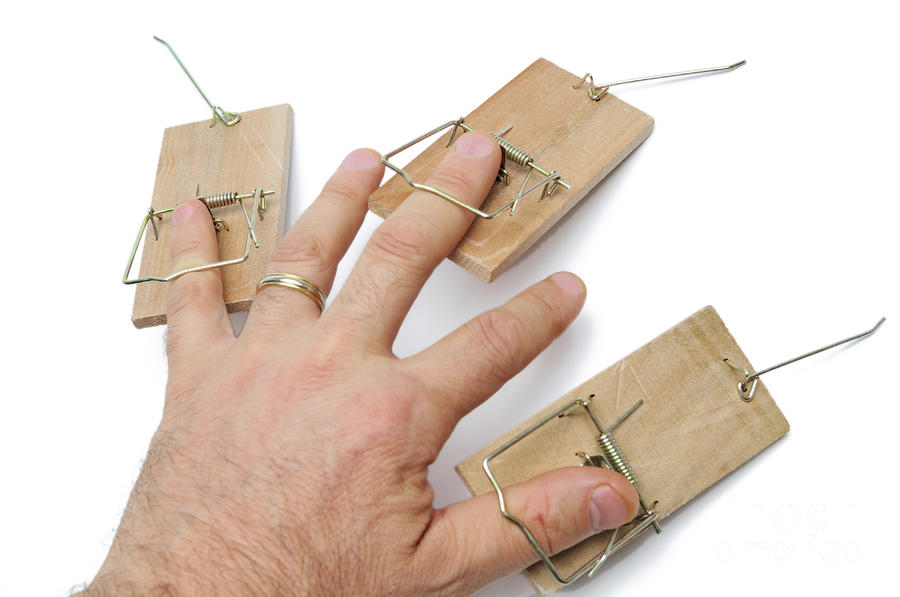 Mans Hand With Three Mousetraps On Fingers Photograph  - Mans Hand With Three Mousetraps On Fingers Fine Art Print