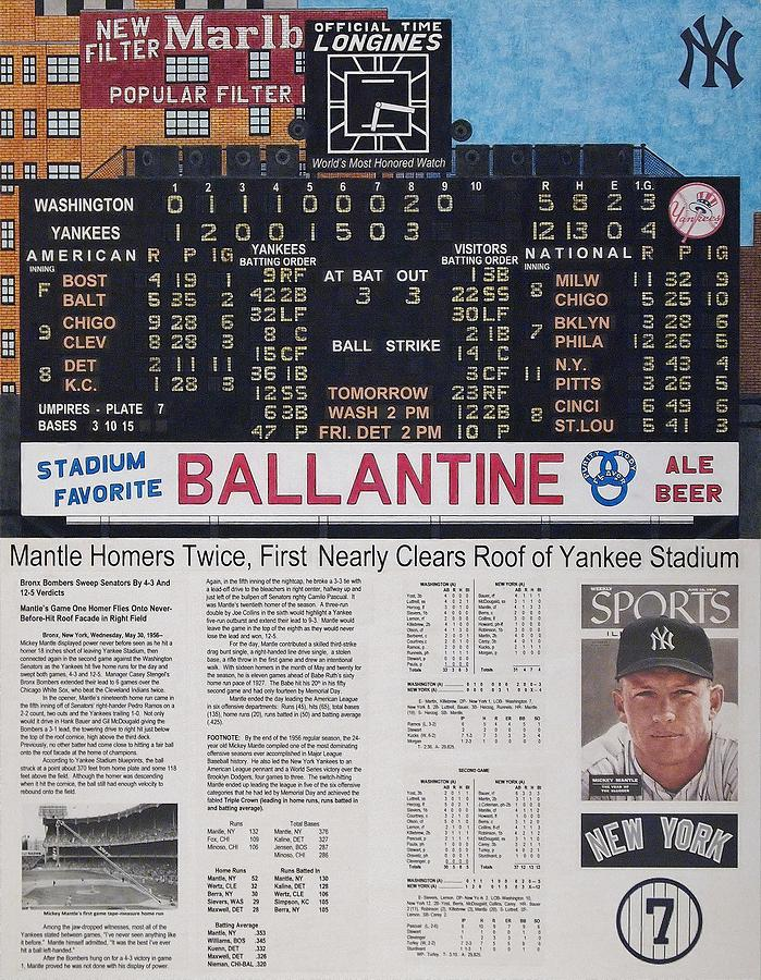 Baseball Drawing - Mantle Triple Crown 1956 by Marc Yench