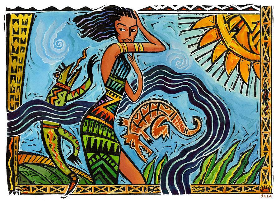 Tribal Wood Cut Art Painting - Maori Woman Dance by Shawn Shea