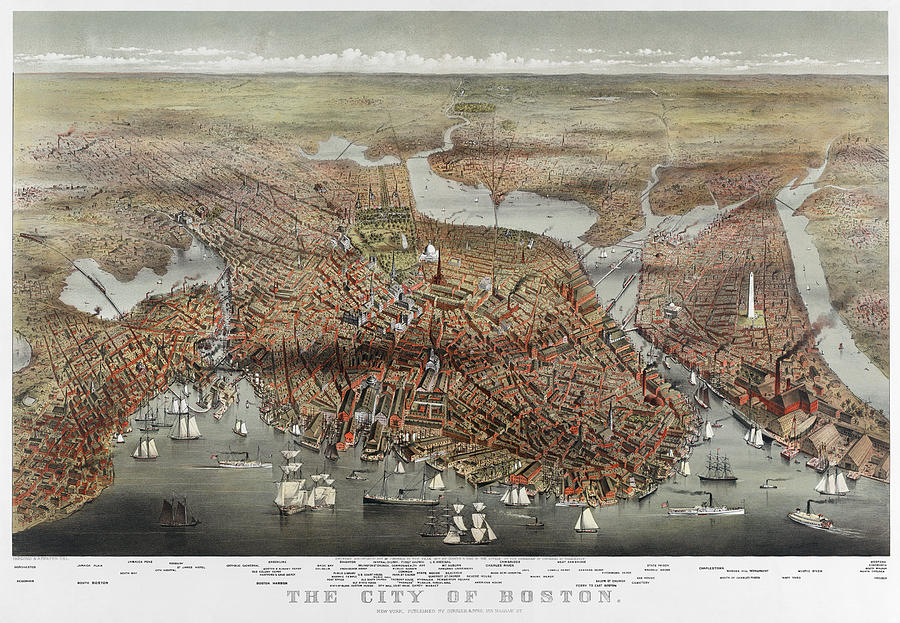 Map: Boston, C1873 Photograph
