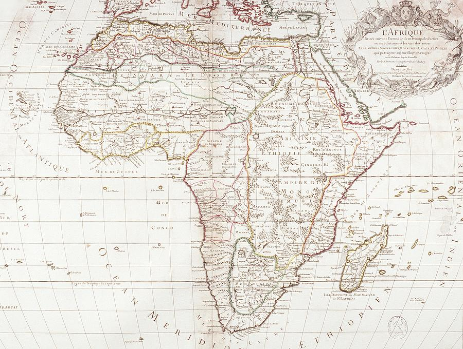Map Of Africa Digital Art  - Map Of Africa Fine Art Print