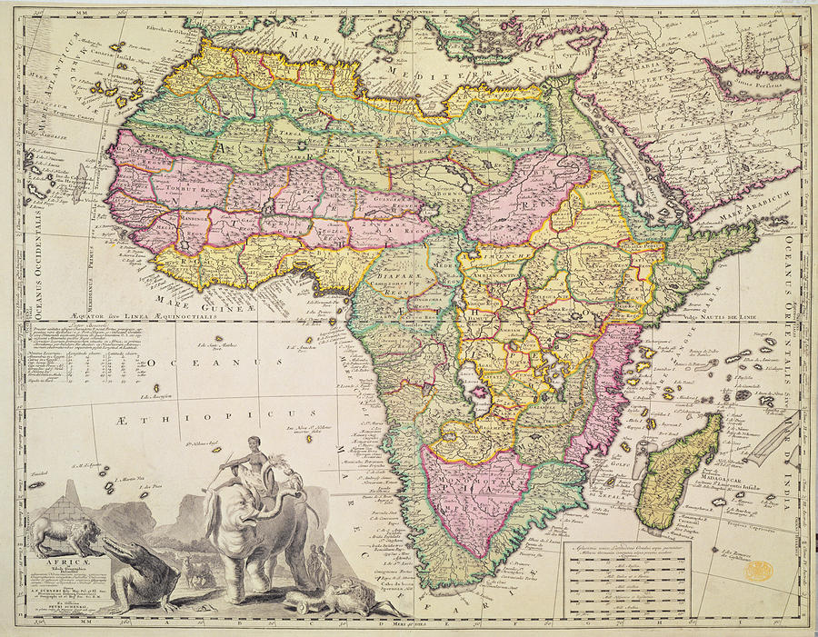 Map Of Africa Drawing  - Map Of Africa Fine Art Print