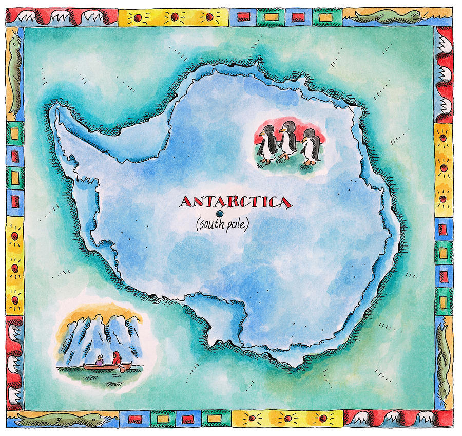 Square Digital Art - Map Of Antarctica by Jennifer Thermes