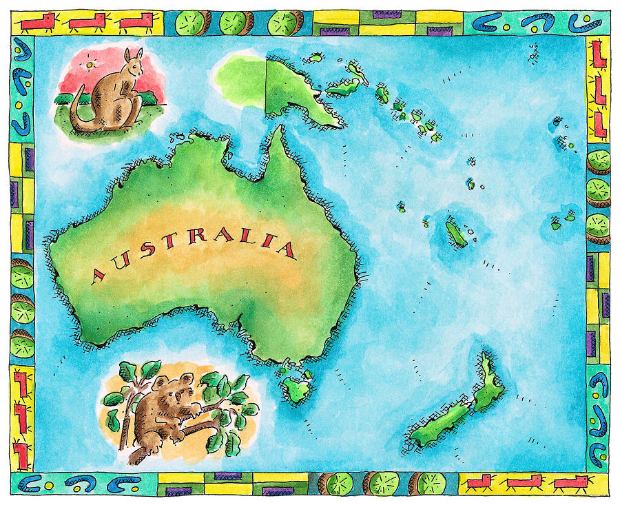 Map Of Australia Digital Art  - Map Of Australia Fine Art Print