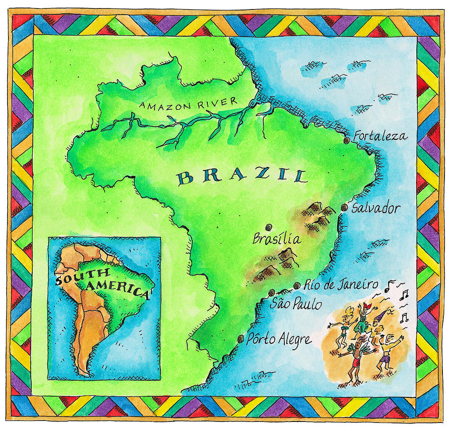 Horizontal Digital Art - Map Of Brazil by Jennifer Thermes