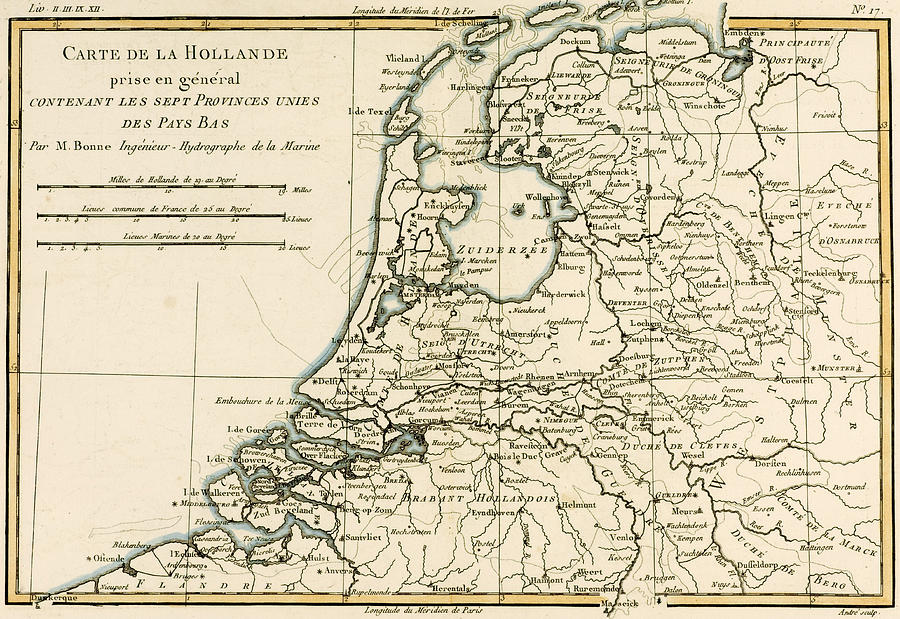 Map Of Holland Including The Seven United Provinces Of The Low Countries Drawing  - Map Of Holland Including The Seven United Provinces Of The Low Countries Fine Art Print