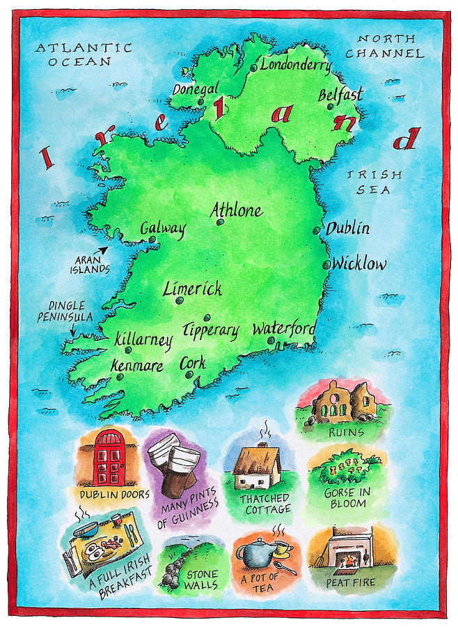 Vertical Digital Art - Map Of Ireland by Jennifer Thermes