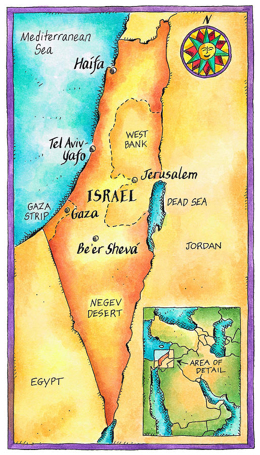 Map Of Israel Digital Art  - Map Of Israel Fine Art Print