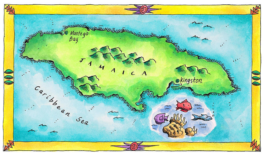 Map Of Jamaica Digital Art  - Map Of Jamaica Fine Art Print