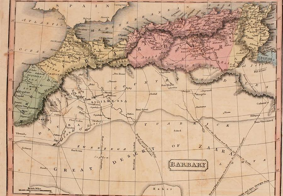 Map Of The Barbary States Of North Photograph