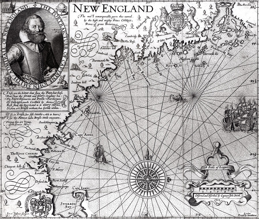 Map Of The Coast Of New England Drawing  - Map Of The Coast Of New England Fine Art Print
