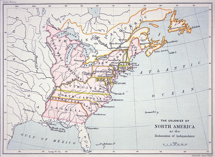 Map Of The Colonies Of North America At The Time Of The Declaration Of Independence Drawing