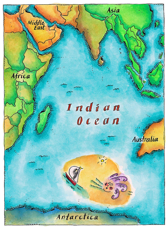 Map Of The Indian Ocean Digital Art  - Map Of The Indian Ocean Fine Art Print