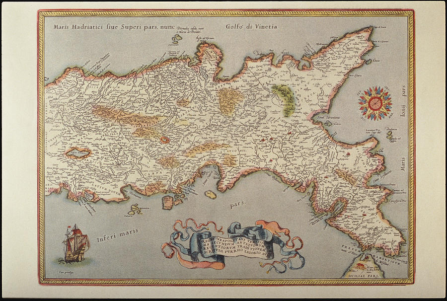 Map Of The Kingdom Of Naples Photograph