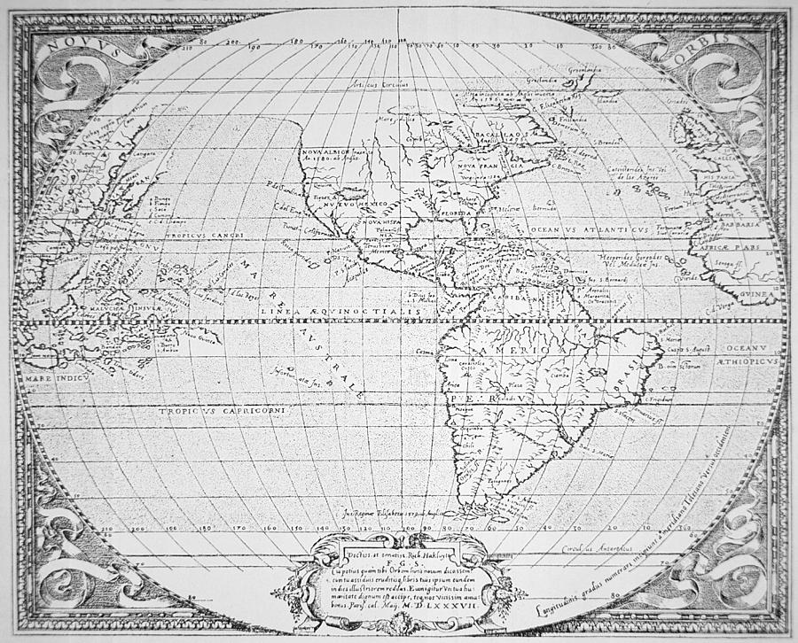 Map Of The New World 1587 Painting  - Map Of The New World 1587 Fine Art Print