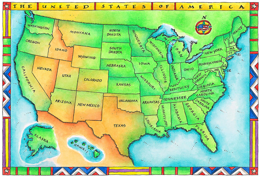 Map Of The Usa Digital Art By Jennifer Thermes