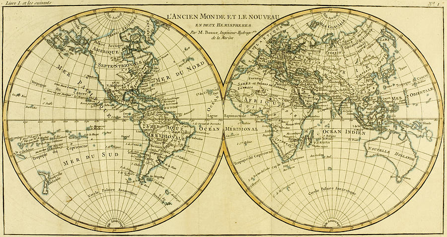 Maps Drawing - Map Of The World In Two Hemispheres by Guillaume Raynal