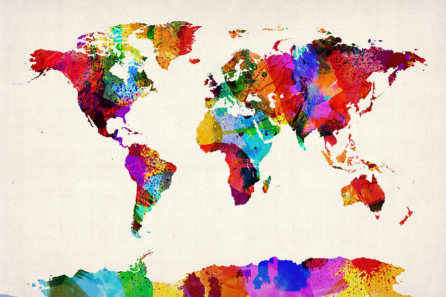 Map Of The World Map Abstract Painting Digital Art  - Map Of The World Map Abstract Painting Fine Art Print