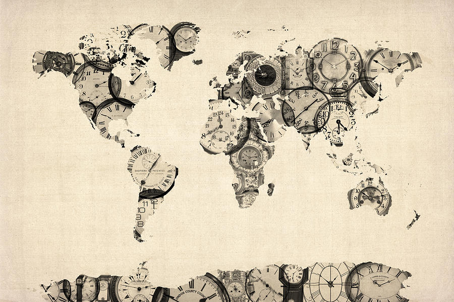 Map Of The World Map From Old Clocks Digital Art  - Map Of The World Map From Old Clocks Fine Art Print