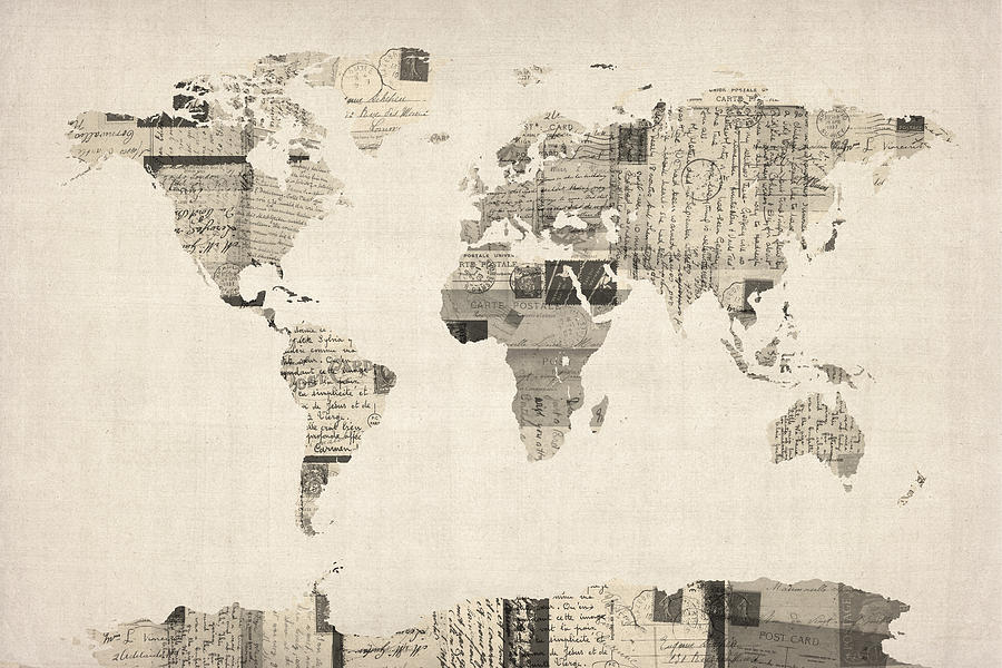 Map Of The World Map From Old Postcards Digital Art  - Map Of The World Map From Old Postcards Fine Art Print