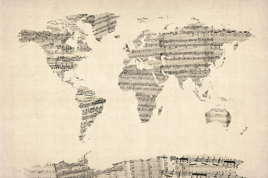 Map Of The World Map From Old Sheet Music Digital Art  - Map Of The World Map From Old Sheet Music Fine Art Print