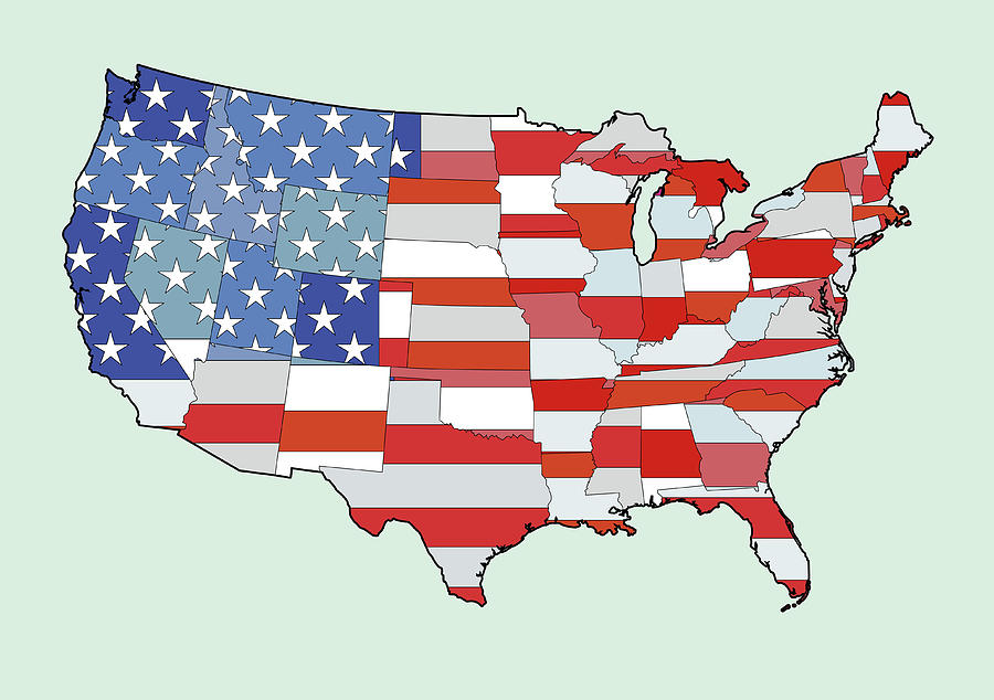 Map Of United States Of America Depicting Stars And Stripes Flag Digital Art