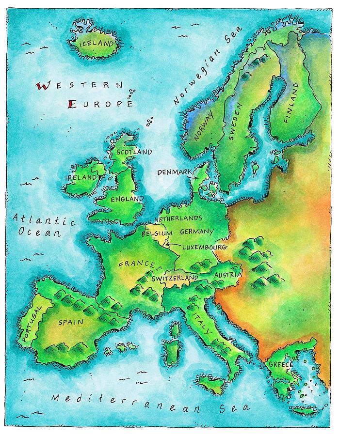 Map Of Western Europe Digital Art by Jennifer Thermes