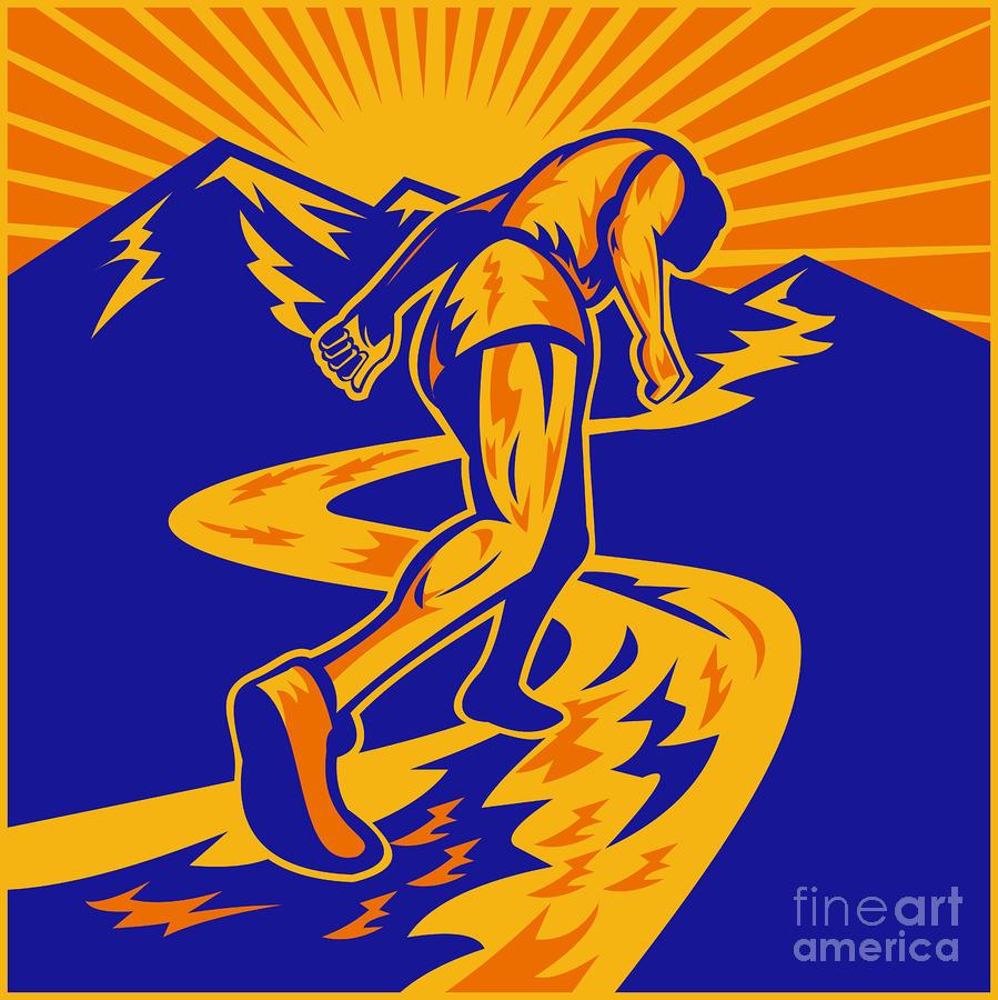 Marathon Runner Or Jogger On Mountain Road  Digital Art