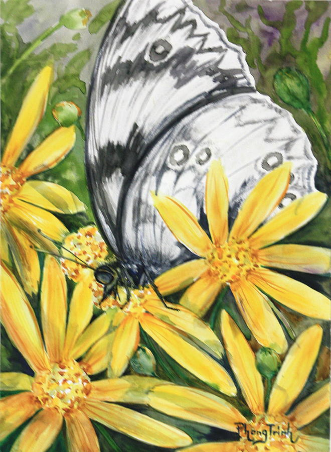 Marble White Butterfly Painting